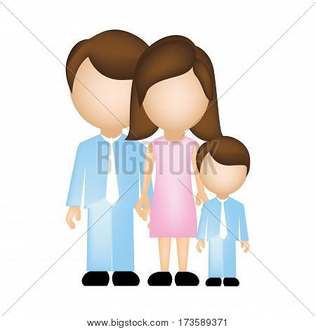 color silhouette faceless with dad mom and son in formal clothes vector illustration