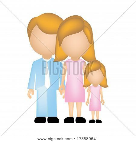 color silhouette faceless with dad mom and daughter in formal clothes vector illustration