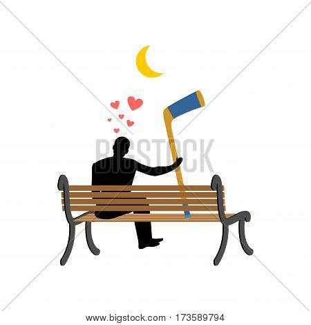 Lover Hockey. Man And Hockey Stick Sitting On Bench. Romantic Date. I Love Sports