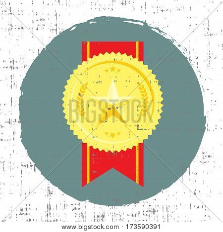 Golden medal with star vector illustration in retro style with screen grunge effect art