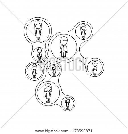 monochrome contour schematic figure with faceless working group vector illustration