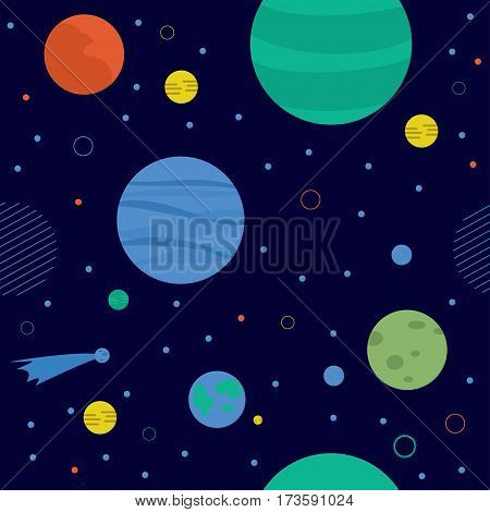 Awesome cosmic seamless pattern with earth, moon, stars and comets. Bright childish background about solar system in cartoon style