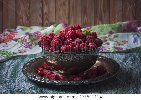 Fresh  Raspberries In Vintage Basket, Vitamins, Healthy Food, Ve