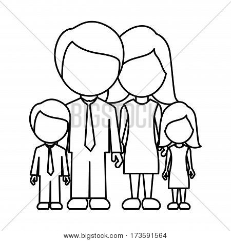 monochrome contour faceless family in formal clothes with son and daughter vector illustration
