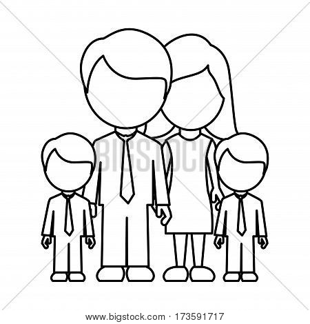 monochrome contour faceless with dad mom and two male sons in formal clothes vector illustration