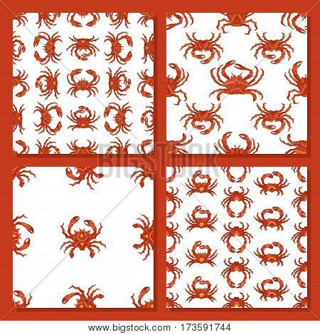 Vector Set Of Seamless Crab Patterns.