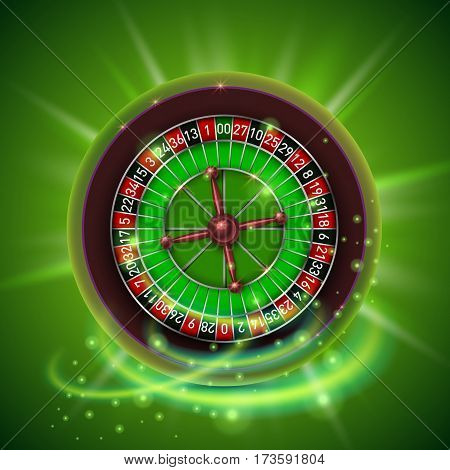 Realistic casino gambling roulette wheel, isolated on green background. Vector illustration