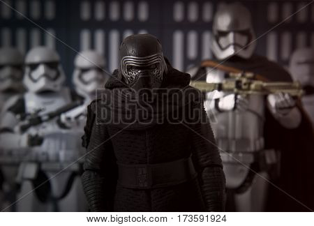 Star Wars Kylo Ren stands with Captain Phasma and First Order Stormtroopers - Hasbro 6 inch black series action figures