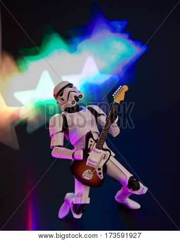 Star Wars Empire Stormtrooper with electric guitar and star light effect background - Hasbro 6 inch Black Series action figure