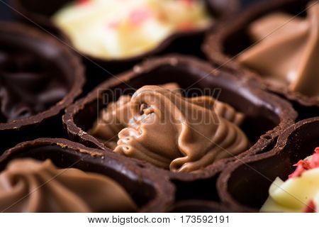 Different Kinds Of Chocolates Close-up. Various Chocolate Pralines