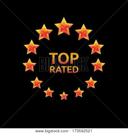Golden stars in the circle. Top rank rated icon for awards and competitions. Vector logotype. Star rating logo and symbol for web, site, flyer, header, poster, infographics.