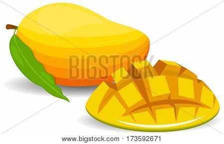 Mango ripe juicy sweet one whole tropical natural healthy exotic fruit with leaf. Mango. Whole and pieces. Sweet fruit. 3d vector icons set. Realistic illustration