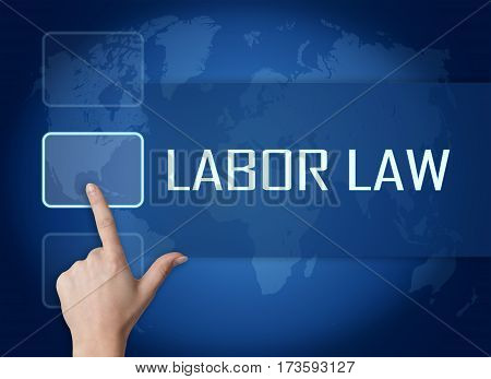 Labor Law concept with interface and world map on blue background poster