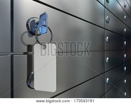 Safe deposit boxes and key. Safe deposit boxes in bank, a closeup of a key with an blank label in lock of a safe cell, 3D illustration.