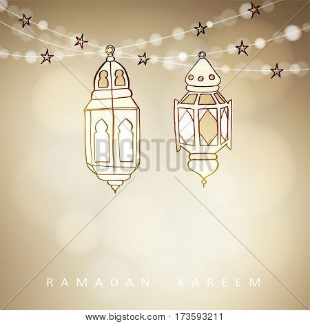 Hand drawn illuminated Arabic lamps, lanterns with bokeh lights and stars. Vector illustration for Muslim community holy month Ramadan Kareem. Modern blurred golden festive background.