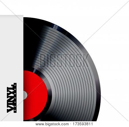 Vinyl record vector illustration. Photorealistic disc design on a white background with a cardboard box