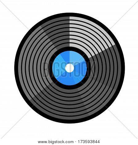 Vinyl record vector illustration. Disc design flat stayle