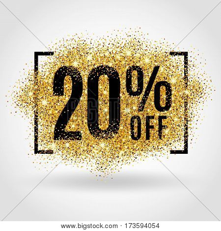 Gold sale 20 percent on gold background. Gold sale background for flyer poster shopping for sale sign discount, marketing, selling, banner, web, header. Gold blur background