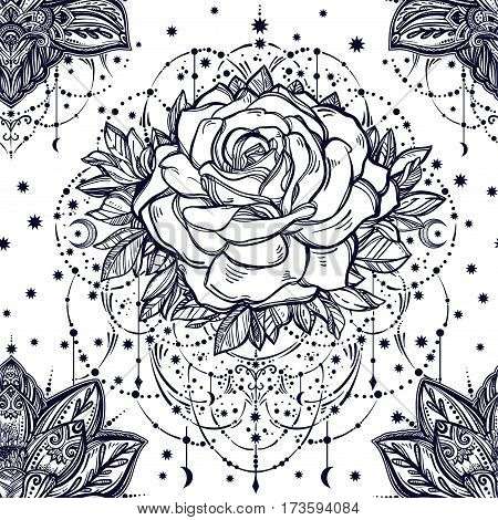 Beautiful floral paisley and decorative rose flower with beautiful beads and stars. Ethnic ornament. Vector henna style. Can be used for textiles, greeting cards, coloring book, phone case print.