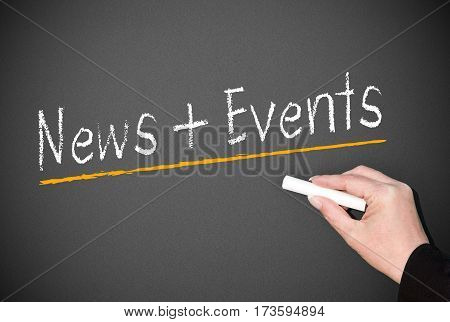 News and Events - female hand writing text