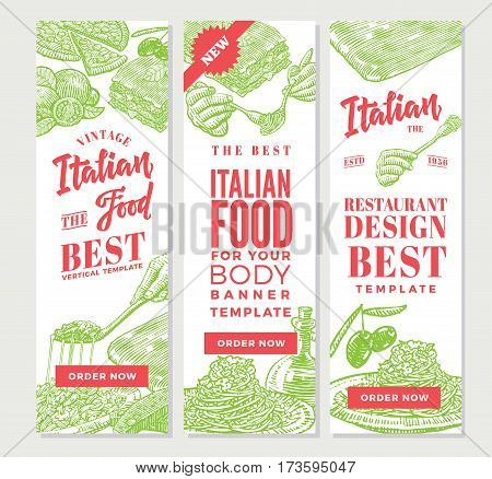 Vintage italian food vertical banners with traditional meals and dishes of national cuisine for restaurant design vector illustration