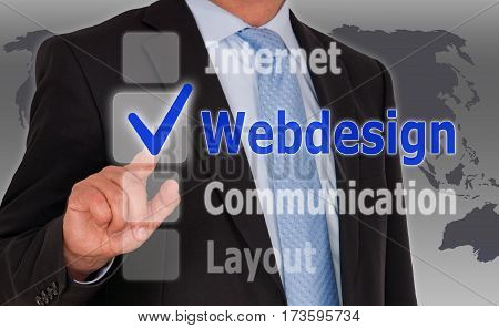 Webdesign - Businessman with touchscreen options and checkbox
