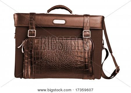 close-up brief case isolated on white
