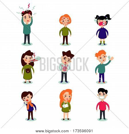 Flat sick people set of man woman children with different diseases and illnesses isolated vector illustration