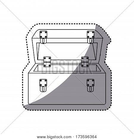 sticker silhouette shading tool box vector illustration