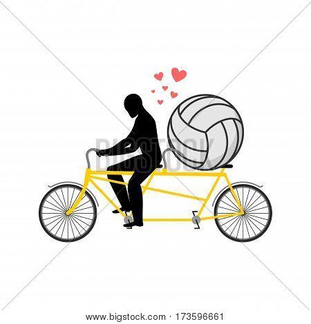 Lover Volleyball. Guy And Football Ball On Tandem. Lovers Of Cycling. Man Rolls  Bicycle. Joint Walk