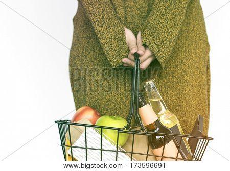 Woman Hands Hold Shopping Supermarket Basket Studio