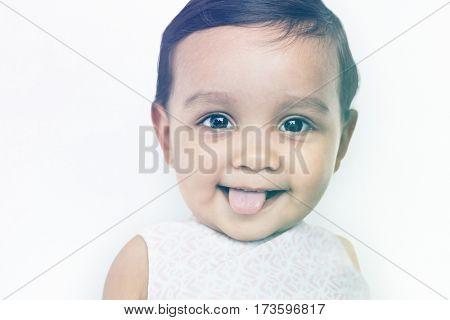 Little Girl Playful Expression Studio Portrait
