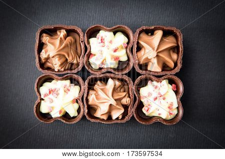 Top View Of Various Chocolate Pralines. Chocolate Candy, Truffle.