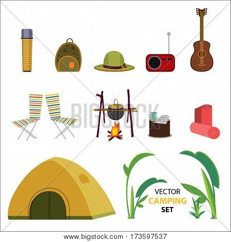 Flat camping icons set with hiking tourist outdoor elements and equipment on white background isolated vector illustration