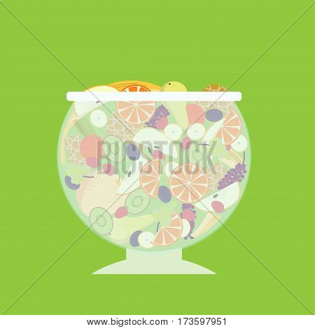 Flat fruit salad template with orange pear kiwi plum strawberry banana and grapes bunch isolated vector illustration