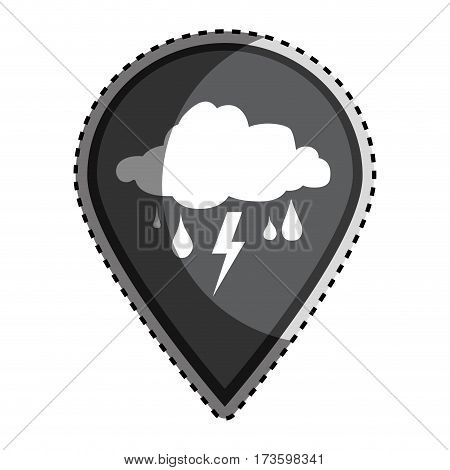 sticker monochrome mark icon pointer gps with rain storm weather icon vector illustration
