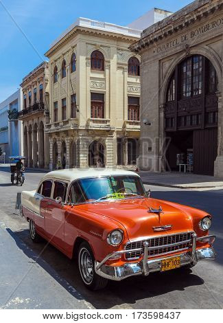 Havana, Cuba - April 1, 2012: Orange Chevrolet Vintage Car