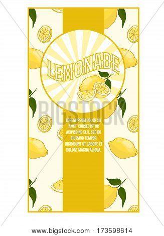 Bright flat lemonade poster with light sticker and fresh natural ripe lemons pattern vector illustration