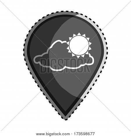 sticker monochrome Mark icon pointer gps with silhouette cloud and sun icon vector illustration