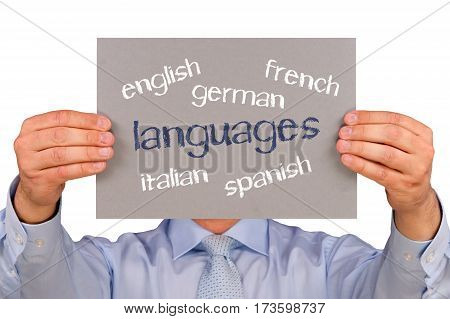 Languages - Manager holding sign with text on white background
