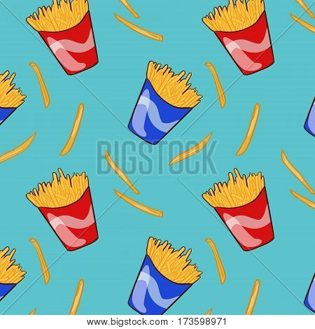 Flat fast food pattern with french fries in red and blue carton boxes vector illustration