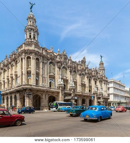 Havana, Cuba - April 2, 2012: Many Vintage Cars  In Front Of Great Theater