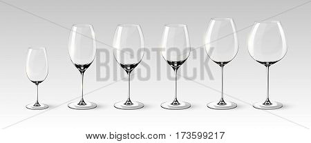 Empty wine glasses collection of different sizes in realistic style on gray background isolated vector illustration