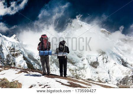 view of Cho Oyu with trekker - Khumbu valley - Nepal