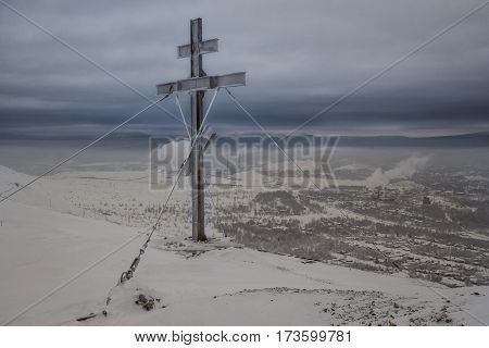 Worship cross on Bald Hill (Karabash, Chelyabinsk Region). The Karabash is the highest worship cross in Russia.