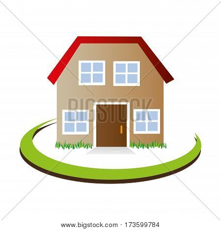 half arch with facade confortable house with attic icon design vector illustration