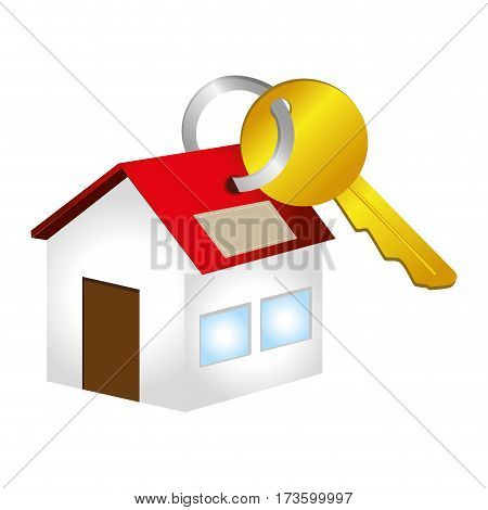 colorful key with key chain in house shape vector illustration