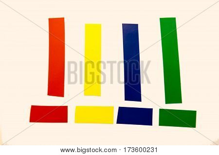 A simple collection of colorful adhesive tape pieces