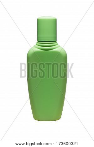 Green tube bottle of shampoo conditioner hair rinse gel isolated.