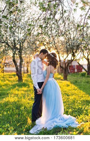 Groom and bride together, wedding couple. Young couple embracing at sunset in blooming spring garden. Love and romantic theme